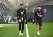 31 August 2020; Callum Robinson, left, and Sean Maguire leave the Sport Ireland National Indoor Arena ahead of a training session at the FAI National Training Centre in Dublin. Photo by Stephen McCarthy/Sportsfile