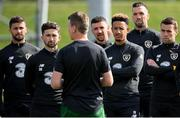 31 August 2020; Republic of Ireland players, from left, Shane Long, Sean Maguire, Callum Robinson, Shane Duffy and Seamus Coleman listen to manager Stephen Kenny during a Republic of Ireland training session at the FAI National Training Centre in Abbotstown, Dublin. Photo by Stephen McCarthy/Sportsfile