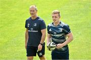 31 August 2020; Senior coach Stuart Lancaster, left, in conversation with Dan Leavy during Leinster Rugby squad training at the RDS Arena in Dublin. Photo by Ramsey Cardy/Sportsfile