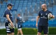 31 August 2020; Backs coach Felipe Contepomi, left, and Kicking coach and lead performance analyst Emmet Farrell during Leinster Rugby squad training at the RDS Arena in Dublin. Photo by Ramsey Cardy/Sportsfile