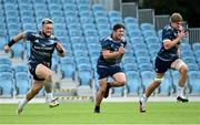 31 August 2020; Andrew Porter, left, Tom Clarkson, centre, and Charlie Ryan during Leinster Rugby squad training at the RDS Arena in Dublin. Photo by Ramsey Cardy/Sportsfile