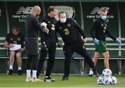 31 August 2020; Republic of Ireland goalkeeping coach Alan Kelly and kitman Mal Slattery, right, during a Republic of Ireland training session at the FAI National Training Centre in Abbotstown, Dublin. Photo by Stephen McCarthy/Sportsfile