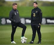 31 August 2020; Republic of Ireland coach Damien Duff and Ruaidhri Higgins, Republic of Ireland chief scout and opposition analyst, right, during a Republic of Ireland training session at the FAI National Training Centre in Abbotstown, Dublin. Photo by Stephen McCarthy/Sportsfile