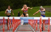 30 August 2020; Athletes, from left, Lara O Byrne of Donore Harriers, Dublin, Sarah Quinn of St. Colmans South Mayo AC, Molly Scott of St Laurence O'Toole AC, Carlow, competing in the Women's 100m Hurdles event during day four of the Irish Life Health National Senior and U23 Athletics Championships at Morton Stadium in Santry, Dublin. Photo by Sam Barnes/Sportsfile
