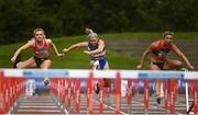 30 August 2020; Athletes, from left, Sarah Quinn  of St. Colmans South Mayo AC, Molly Scott of St Laurence O'Toole AC, Carlow, and  Lilly-Ann O'Hora of Dooneen AC, Limerick, competing in the Women's 100m Hurdles event during day four of the Irish Life Health National Senior and U23 Athletics Championships at Morton Stadium in Santry, Dublin. Photo by Sam Barnes/Sportsfile