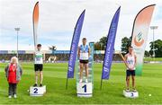 30 August 2020; Athletics Ireland President Georgina Drumm, left, alongside Men's 200m medallists, from left, Mark Smyth of Raheny Shamrock AC, Dublin, silver, Marcus Lawler of St. Laurence O'Toole AC, Carlow, gold, and Christopher O'Donnell of North Sligo AC, bronze, during day four of the Irish Life Health National Senior and U23 Athletics Championships at Morton Stadium in Santry, Dublin. Photo by Sam Barnes/Sportsfile