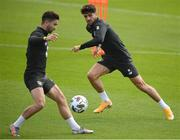 1 September 2020; Robbie Brady, right, and Sean Maguire during a Republic of Ireland training session at FAI National Training Centre in Abbotstown, Dublin. Photo by Stephen McCarthy/Sportsfile