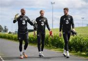 1 September 2020; Goalkeepers, from left, Darren Randolph, Caoimhin Kelleher and Mark Travers during a Republic of Ireland training session at FAI National Training Centre in Abbotstown, Dublin. Photo by Stephen McCarthy/Sportsfile