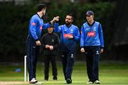1 September 2020; Simi Singh of Leinster Lightning, centre, celebrates with George Dockrell, left, after bowling Jack Tector of Munster Reds during the 2020 Test Triangle Inter-Provincial Series match between Munster Reds and Leinster Lightning at The Mardyke Cricket Grounds in Cork. Photo by Sam Barnes/Sportsfile