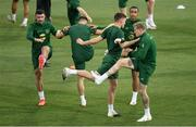 2 September 2020; Enda Stevens, left, Adam Idah and James McClean, right, during a Republic of Ireland training session at Vasil Levski National Stadium in Sofia, Bulgaria. Photo by Alex Nicodim/Sportsfile