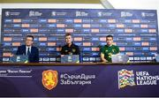 2 September 2020; Republic of Ireland manager Stephen Kenny, Seamus Coleman, right, and FAI Director of Communications Cathal Dervan, left, during a Republic of Ireland press conference at Vasil Levski National Stadium in Sofia, Bulgaria. Photo by Alex Nicodim/Sportsfile