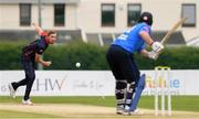 3 September 2020; Josh Manley of Northern Knights bowls to Kevin O'Brien of Leinster Lightning during the Test Triangle Inter-Provincial Series 2020 match between Leinster Lightning and Northern Knights at Pembroke Cricket Club in Dublin. Photo by Matt Browne/Sportsfile