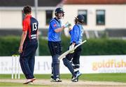 3 September 2020; Leinster Lightning captain George Dockrell celebrates hitting the winning runs with team-mate Simi Singh during the Test Triangle Inter-Provincial Series 2020 match between Leinster Lightning and Northern Knights at Pembroke Cricket Club in Dublin. Photo by Matt Browne/Sportsfile