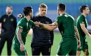 3 September 2020; Republic of Ireland coach Damien Duff in conversation with Sean Maguire, left, and Enda Stevens of Republic of Ireland ahead of the UEFA Nations League B match between Bulgaria and Republic of Ireland at Vasil Levski National Stadium in Sofia, Bulgaria. Photo by Alex Nicodim/Sportsfile