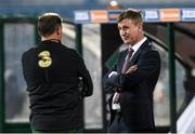 3 September 2020; Republic of Ireland manager Stephen Kenny, right, in conversation with goalkeeping coach Alan Kelly ahead of the UEFA Nations League B match between Bulgaria and Republic of Ireland at Vasil Levski National Stadium in Sofia, Bulgaria. Photo by Alex Nicodim/Sportsfile