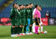 3 September 2020; Republic of Ireland players stand for Amhrán na bhFiann ahead of the UEFA Nations League B match between Bulgaria and Republic of Ireland at Vasil Levski National Stadium in Sofia, Bulgaria. Photo by Alex Nicodim/Sportsfile