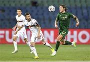 3 September 2020; Jeff Hendrick of Republic of Ireland in action against Spas Delev of Bulgaria during the UEFA Nations League B match between Bulgaria and Republic of Ireland at Vasil Levski National Stadium in Sofia, Bulgaria. Photo by Alex Nicodim/Sportsfile
