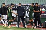 3 September 2020; Republic of Ireland manager Stephen Kenny greets Robbie Brady, left, as coach Keith Andrews greets John Egan, right, following the UEFA Nations League B match between Bulgaria and Republic of Ireland at Vasil Levski National Stadium in Sofia, Bulgaria. Photo by Alex Nicodim/Sportsfile