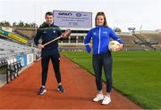 7 September 2020; Simon McCroy of Antrim and Roisín Howard of Tipperary pictured at the launch of the GPA & WGPA Member Support Text Line at Croke Park in Dublin. Photo by Matt Browne/Sportsfile
