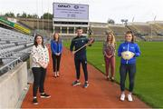 7 September 2020; Simon McCroy of Antrim, centre, with from left, Maria Towey, Head of Operation for Member Support Text Line 50808, Maria Kinsella, Chairperson of the WGPA, Jennifer Rogers, GPA Player Welfare Manager, and Roisín Howard of Tipperary pictured at the launch of the GPA & WGPA Member Support Text Line at Croke Park in Dublin. Photo by Matt Browne/Sportsfile