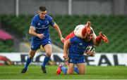 4 September 2020; Jordan Larmour of Leinster in action against JJ Hanrahan of Munster during the Guinness PRO14 Semi-Final match between Leinster and Munster at the Aviva Stadium in Dublin. Photo by David Fitzgerald/Sportsfile