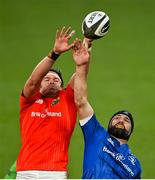 4 September 2020; Billy Holland of Munster and Scott Fardy of Leinster during the Guinness PRO14 Semi-Final match between Leinster and Munster at the Aviva Stadium in Dublin. Photo by Ramsey Cardy/Sportsfile