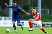 4 September 2020; Robert Weir of Waterford in action against Jamie Lennon of St Patrick's Athletic during a SSE Airtricity League Premier Division match between Waterford and St. Patrick's Athletic at the RSC in Waterford. Photo by Michael P Ryan/Sportsfile