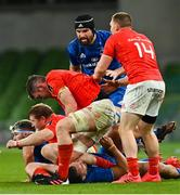 4 September 2020; Peter O'Mahony of Munster tussles with James Lowe of Leinster during the Guinness PRO14 Semi-Final match between Leinster and Munster at the Aviva Stadium in Dublin. Photo by Ramsey Cardy/Sportsfile