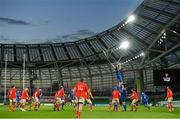4 September 2020; Scott Fardy of Leinster wins possession in the lineout during the Guinness PRO14 Semi-Final match between Leinster and Munster at the Aviva Stadium in Dublin. Photo by Ramsey Cardy/Sportsfile