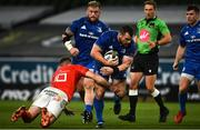 4 September 2020; Cian Healy of Leinster is tackled by JJ Hanrahan of Munster during the Guinness PRO14 Semi-Final match between Leinster and Munster at the Aviva Stadium in Dublin. Photo by David Fitzgerald/Sportsfile