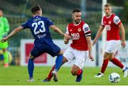 4 September 2020; Robbie Benson of St Patrick's Athletic in action against Shane Griffin of Waterford during a SSE Airtricity League Premier Division match between Waterford and St. Patrick's Athletic at the RSC in Waterford. Photo by Michael P Ryan/Sportsfile