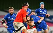 4 September 2020; Robbie Henshaw of Leinster is tackled by CJ Stander, left, and JJ Hanrahan of Munster during the Guinness PRO14 Semi-Final match between Leinster and Munster at the Aviva Stadium in Dublin. Photo by Ramsey Cardy/Sportsfile