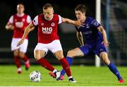 4 September 2020; Jamie Lennon of St Patrick's Athletic in action against John Martin of Waterford during a SSE Airtricity League Premier Division match between Waterford and St. Patrick's Athletic at the RSC in Waterford. Photo by Michael P Ryan/Sportsfile