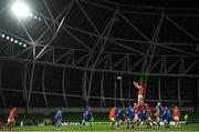 4 September 2020; Peter O'Mahony of Munster wins a lineout during the Guinness PRO14 Semi-Final match between Leinster and Munster at the Aviva Stadium in Dublin. Photo by David Fitzgerald/Sportsfile