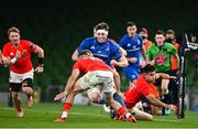4 September 2020; Ryan Baird of Leinster in action against Shane Daly, 15, and Conor Murray of Munster during the Guinness PRO14 Semi-Final match between Leinster and Munster at the Aviva Stadium in Dublin. Photo by Ramsey Cardy/Sportsfile