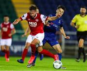 4 September 2020; Georgie Kelly of St Patrick's Athletic in action against Shane Griffin of Waterford during a SSE Airtricity League Premier Division match between Waterford and St. Patrick's Athletic at the RSC in Waterford. Photo by Michael P Ryan/Sportsfile
