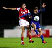 4 September 2020; Tyreke Wilson of Waterford in action against Jordan Gibson of St Patrick's Athletic during a SSE Airtricity League Premier Division match between Waterford and St. Patrick's Athletic at the RSC in Waterford. Photo by Michael P Ryan/Sportsfile