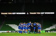 4 September 2020; The Leinster team huddle following their victory in the Guinness PRO14 Semi-Final match between Leinster and Munster at the Aviva Stadium in Dublin. Photo by Ramsey Cardy/Sportsfile