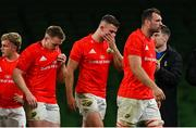 4 September 2020; Munster players, from left, Craig Casey, Rory Scannell, Shane Daly and Tadhg Beirne following their defeat in the Guinness PRO14 Semi-Final match between Leinster and Munster at the Aviva Stadium in Dublin. Photo by Ramsey Cardy/Sportsfile