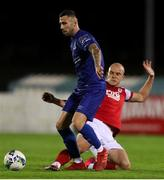 4 September 2020; Robbie McCourt of Waterford in action against Georgie Kelly of St Patrick's Athletic during a SSE Airtricity League Premier Division match between Waterford and St. Patrick's Athletic at the RSC in Waterford. Photo by Michael P Ryan/Sportsfile