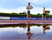 5 September 2020; Jake O'Brien of Moy Valley AC, Mayo, left, and James Hanlon of Taghmon AC, Wexford, competing in the Junior Men's 5k Walk event during the Irish Life Health National Junior Track and Field Championships at Morton Stadium in Santry, Dublin. Photo by Sam Barnes/Sportsfile