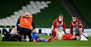 4 September 2020; JJ Hanrahan of Munster, right, and Jordan Larmour of Leinster are attended to by medical staff during the Guinness PRO14 Semi-Final match between Leinster and Munster at the Aviva Stadium in Dublin. Photo by Brendan Moran/Sportsfile