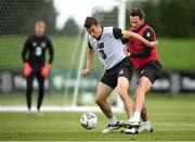 5 September 2020; Seamus Coleman, left, is tackled by Alan Browne during a Republic of Ireland training session at the FAI National Training Centre in Abbotstown, Dublin. Photo by Stephen McCarthy/Sportsfile