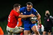 4 September 2020; James Lowe of Leinster is tackled by JJ Hanrahan of Munster during the Guinness PRO14 Semi-Final match between Leinster and Munster at the Aviva Stadium in Dublin. Photo by Ramsey Cardy/Sportsfile