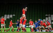 4 September 2020; Peter O'Mahony of Munster wins possession in the lineout during the Guinness PRO14 Semi-Final match between Leinster and Munster at the Aviva Stadium in Dublin. Photo by Ramsey Cardy/Sportsfile