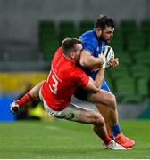 4 September 2020; Robbie Henshaw of Leinster is tackled by Chris Farrell of Munster during the Guinness PRO14 Semi-Final match between Leinster and Munster at the Aviva Stadium in Dublin. Photo by Ramsey Cardy/Sportsfile