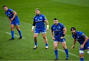 4 September 2020; Leinster players, from left, Rónan Kelleher, Andrew Porter, Cian Healy and Scott Fardy during the Guinness PRO14 Semi-Final match between Leinster and Munster at the Aviva Stadium in Dublin. Photo by Ramsey Cardy/Sportsfile