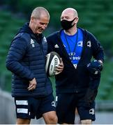4 September 2020; Leinster academy kitman Jim Bastick, right, and Leinster senior coach Stuart Lancaster ahead of the Guinness PRO14 Semi-Final match between Leinster and Munster at the Aviva Stadium in Dublin. Photo by Ramsey Cardy/Sportsfile