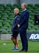 4 September 2020; Leinster head coach Leo Cullen, right, and Leinster senior coach Stuart Lancaster ahead of the Guinness PRO14 Semi-Final match between Leinster and Munster at the Aviva Stadium in Dublin. Photo by Ramsey Cardy/Sportsfile