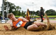 5 September 2020; Joseph McEvoy of Nenagh Olympic AC, Tipperary, on his way to winning the Junior Men's Long Jump during the Irish Life Health National Junior Track and Field Championships at Morton Stadium in Santry, Dublin. Photo by Sam Barnes/Sportsfile